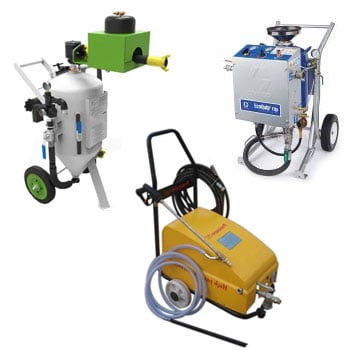 Diferentes modelos de máquinas chorreadoras de arena húmeda